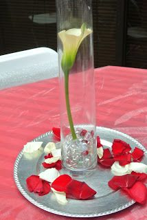 Red, white and silver wedding.  Wedding flowers DIY.  Red wedding decorations.