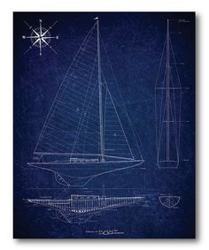 Sailboat Blueprint II Wrapped Canvas | zulily