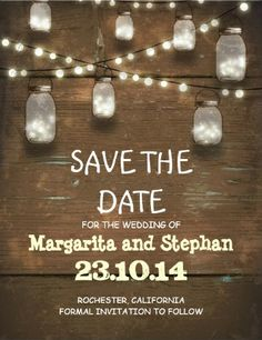 Rustic country string lights and mason jars #save_the_date wedding invitations.