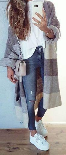 Oversized Pattern Print Cardigan + Knit Layers