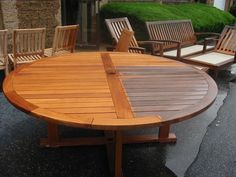 If you are thinking of a modern and versatile style, teak patio set furniture is best option. Teak furniture is in high demand due to its innumerable advantages over other outdoor furniture Teak Table, Patio Table, Backyard Patio, Garden Table, Picnic Table, Painted Outdoor Furniture, Teak Outdoor Furniture, White Furniture, Garden Furniture