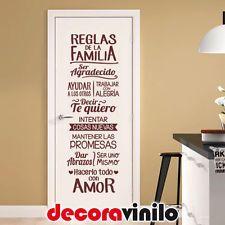 VINILO DECORATIVO PEGATINA PARED REGLAS FAMILIA FELIZ AMOR FRASE 38x115cm F02