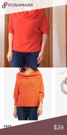 Fate cowl neck pullover sweater Orange, EUC, size m Fate Sweaters Cowl & Turtlenecks