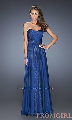 Strapless Sweetheart Floor Length Lace Prom Dress at PromGirl.com