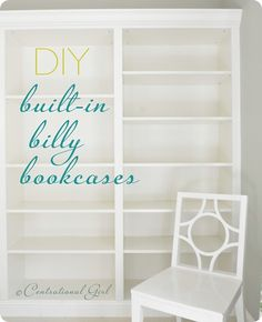 """prateleiras - DIY Ikea Billy Bookcases turned into """"built-in"""" bookcases. I need this done to my living room!and set up as a pantry in the kitchen. and a bookcase in the bedroom. Ikea Billy Bookcase, Bookcase Wall, Built In Bookcase, Bookshelves Ikea, Book Shelves, Ikea Shelves, Wall Shelving, Book Storage, Wall Storage"""
