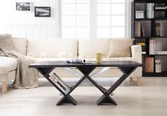 Roy Rustic Coffee Table with X-Chrome Base