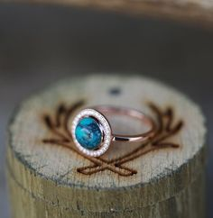 14K Gold & Turquoise Diamond Ring. Handcrafted by Staghead Designs.