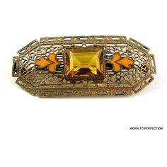 March Madness Sale Art Deco Czech Brass Filigree Brooch with Topaz... (80 CAD) ❤ liked on Polyvore featuring jewelry, brooches, deco jewelry, enamel brooches, orange jewelry, art deco brooch and orange topaz jewelry