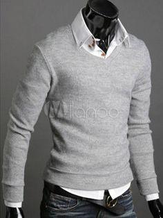 [10,62€] Tricot gris clair homme style romain, manche longues, col en V