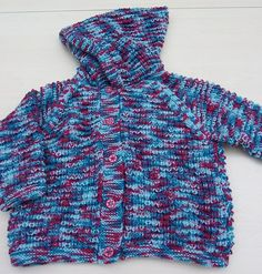 Hand knitted childs hooded cardigan by Knittingtopia on Etsy, £17.50