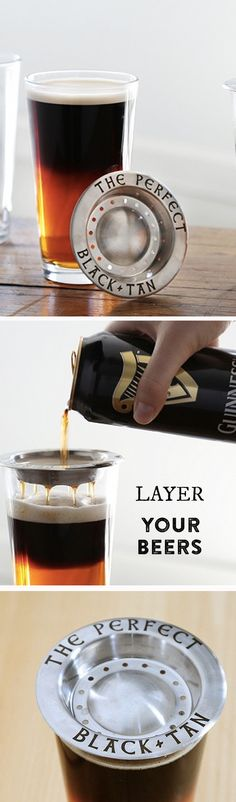 Layer multiple beers in one glass for more complex flavors and a striking visual effect. With this tool, all you need to do is pour. equipment brewery The Perfect Black and Tan Beer Brewing, Home Brewing, Guinness, Dark Beer, Brewing Equipment, Liqueur, Beer Gifts, Beer Recipes, How To Make Beer