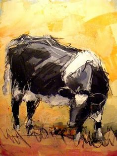 Paint with acrylics, Cow painting