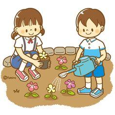 花の世話をする子どものイラスト(ソフト)