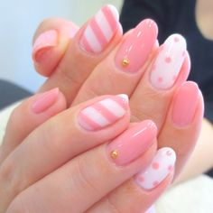 Pink stripe & polka dot nails