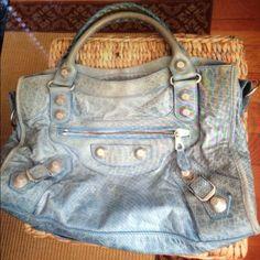 Sky blue beautiful Balenciaga bag Pre-owned Balenciaga. Bag is in VERY good condition!!! Shows few signs of worn. Balenciaga Bags Shoulder Bags