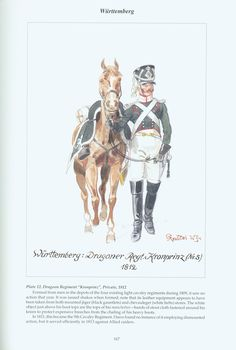 """The Confederation of the Rhine - Württemberg: Plate 12. Dragoon Regiment """"Kronprinz"""", Private, 1812"""