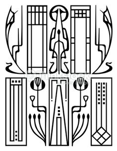 abstract geometric pattern, art deco style, a gold grill on a ...