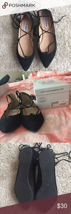 Steve Madden Eleanorr black suede lace up flats Only worn once! No sign of wear whatsoever. Size 9 Steve Madden Shoes Flats & Loafers