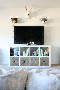 Playroom Makeover, tv in playroom, animal head decor, IKEA TV stand