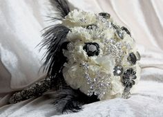Black and Silver Wedding Bouquet (LOVE THIS!)