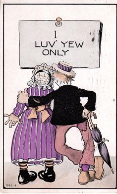 Vintage Postcard - I Luv Yew Only 1916