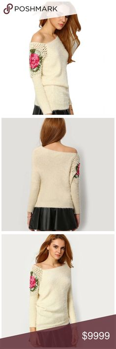 """Soft Ivory Pink Crochet Asymmetrical Sweater ‼️ PRICE FIRM UNLESS BUNDLED WITH OTHER ITEMS FROM MY CLOSET ‼️  Unbelievably gorgeous sweater & it is so soft you will never want to take it off.  Perfect for year round wear. So versatile and stylish.  Perfect for year round wear. 55% acrylic   There is a substantial amount of stretch as with most sweaters. The measurements given are where I do not feel it would look stretched out or overwhelming.  Bust 34""""-39"""" length of garment on longest side…"""