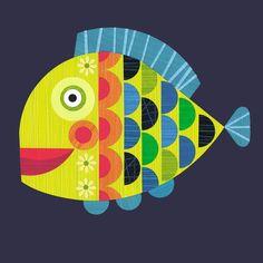 Ellen Giggenbach - cut paper, art, illustration, pattern and design work Round Robin, Paper Fish, Frida Art, Fish Illustration, Fish Print, Happy Animals, Paper Cutting, Cut Paper, Art Lessons