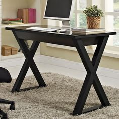 Constructed of thick, tempered safety glass and steel frame create a sturdy, stylish work space. Features a large storage drawer to maintain a neat appearance. The classic, x-frame leg design and sleek finish are sure to please.