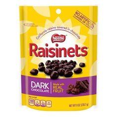 Raisinets Chocolate Stand Up Bag Milk 8 oz Nestle Chocolate, Chocolate Brands, Chocolate Coating, Potato Chip Flavors, Chocolate Covered Raisins, California Raisins, Bagged Milk, Sour Candy, Pink Candy