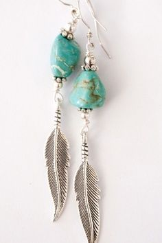 silver feather and turquoise bead earrings