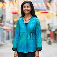 Emerald Silk Reversible Wrap Jacket | National Geographic Store