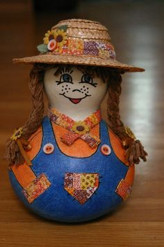 Country Farmer Girl Gourd Doll Country Loving by myladyofgourds, $35.00