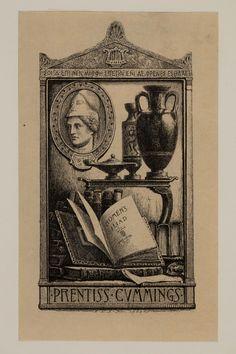 Percy Neville Barnett, Prentiss Cummings, ex libris, bookplates, graphic design, art print #bookplate #artprint #artdeco #exlibris