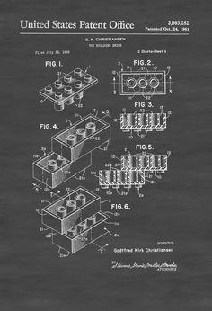 Lego Brick Patent - Patent Print Wall Decor Lego Building Block Lego Poster by PatentsAsPrints