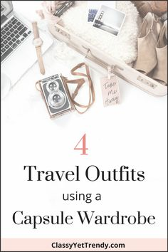 4 Travel Outfits Using A Capsule Wardrobe - easy outfit ideas to wear on vacation and on a car, train or airplane.  Comfortable pieces like a cardigan, leggings, jeggings, boots, flats and tee.