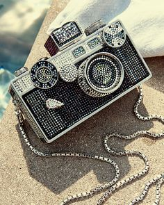 Camera Clutch Bag, Cosmo Jet, Silver Cosmo Jet - Judith Leiber Couture