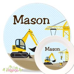 Construction Plate Set - Personalized Kid\u0027s Melamine Plate Set Kids by LePetitePeaPod  sc 1 st  Pinterest & Plate - Kids Plate Set - Personalized Melamine Plate and Bowl Set ...