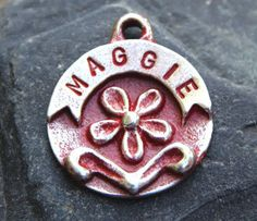 Dog Tag - Pet Tag - Pet ID Tag Pet Accessories - Custom Hand Stamped Metal Flower on Etsy, $12.95