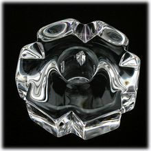 Orrefors Cut Crystal Candle Holder Swedish Art Glass Signed /25