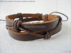 Leather and Rope Woven Bracelets Adjustable  46S by sevenvsxiao, $3.50