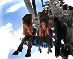 """Six Flags Magic Mountain, CA  X2: First opened in 2002 as the world's first """"fourth-dimensional"""" ride, with 360-degree rotating seats and headfirst, facedown drops"""