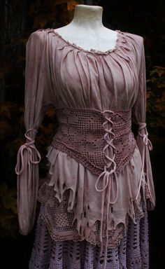 pirate shirt in dusty rose ligth lavender and vintage cotton crochet lace victorian corset shirt sweater blouse. €117.00, via Etsy.