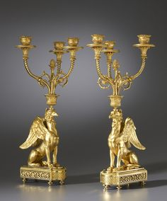 Empire Gilt Bronze candelabra