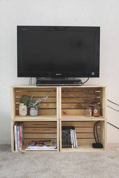 DIY Crate TV Stand — Cashmere and Plaid #Small spaces #home decor