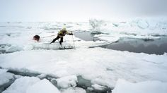 The North Pole is covered with large packs of floating ice. (Borge Ousland/National Geographic)