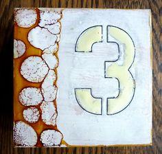 Number 3 original encaustic painting by lvhdesigns on Etsy, $35.00
