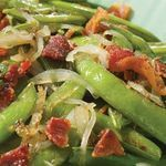 Roasted Snap Peas with Shallots  USE FRESH GREEN BEANS INSTEAD