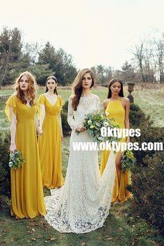 A-Line V-Neck Yellow Chiffon Bridesmaid Dress with Ruffles bb9bdc9e0d42