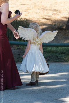 flower girl rustic wedding I totally love the wings!!!