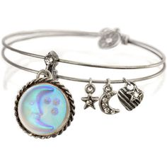 Sweet Romance Change Bangle ($23) ❤ liked on Polyvore featuring jewelry, bracelets, brown, star jewelry, cameo jewelry, charm bracelet bangle, star bangle and charm bangle